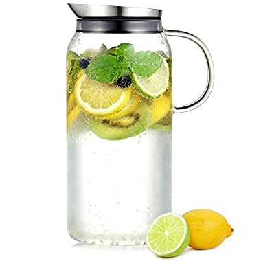 Ecooe Cylindrical 1500ml\50 oz Glass Water Pitcher with Stainless Steel Infuser Lid