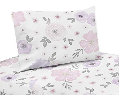 Sweet Jojo Designs Lavender Purple, Pink, Grey and White Twin Sheet Set for Watercolor Floral Collection - 3 piece set - Rose Flower