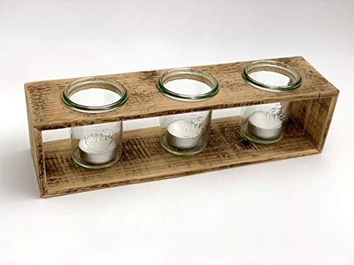 Teelichthalter aus Holz einer Obstkiste mit 3 x Einmachglas   Upcycling Geschenkidee