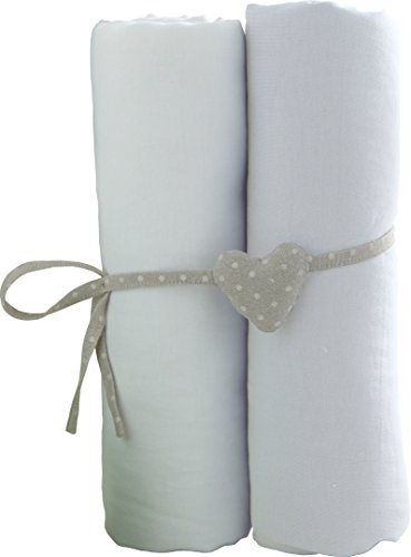 babyCalin lot de 2 Draps Housse Blanc 60 x 120 cm