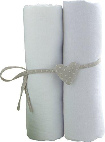 babyCalin lot de 2 Draps Housse Blanc 60 x 120 cm