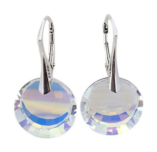 Crystals & Stones - MAGIC ROUND - Tolle Exklusive Ohrringe - Farbe Crystal AB - Silber 925 Schön Damen Ohrringe mit Kristallen von Swarovski Elements - Wunderbare Ohrringe