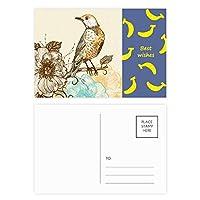 カラフルな鉛筆の鳥の花 バナナのポストカードセットサンクスカード郵送側20個