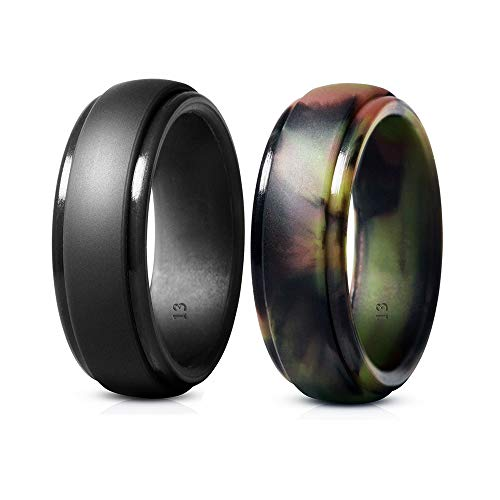 Cosowe Silicone Wedding Ring for Men, Mens Rubber Silicone Wedding Bands - 2 Pack (Size 9)