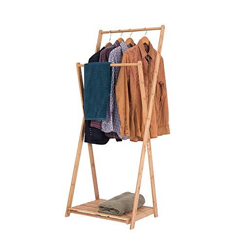 Happy Home Garderobenständer aus Bambus Doppelstange Kleiderständer Gaderobe Kleiderstange mit Schuhregal, 60 x 56,5 x 151 cm
