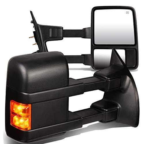 Replacement for Ford F-Series Super Duty Pair of Black Powered+Heated Glass+Signal+Manual Extenable Side Towing Mirrors