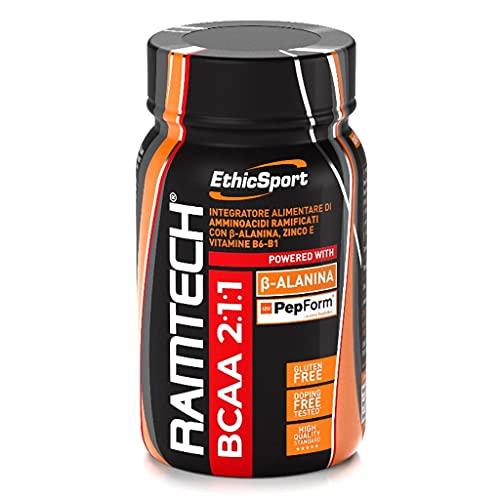 EthicSport - Ramtech BCAA 2:1:1 - Barattolo da 120 cpr x 1500 mg - Integratore alimentare di amminoacidi ramificati per la dieta dello sportivo, con Beta-Alanina e PepForm - peptidi di leucina