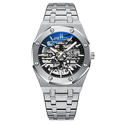 ZFAYFMA Diseño mecánico bisel negro reloj de los hombres reloj de lujo reloj de los hombres automático de acero inoxidable reloj de negocios Marco, 30 m impermeable, luminoso, plateado