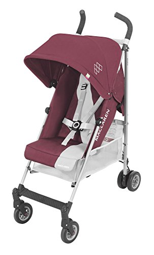 Maclaren Triumph lightweight compact umbrella stroller. Extendable and waterproof hood with UPF 50+ and reclining seat, all wheels suspension. Includes raincover. Plum/Grey Dawn