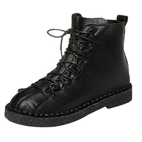 Botas Militares para Mujer Otoño Invierno PAOLIAN Calzado de Cuero Dama Moda Botines Planos con Cordones Fashion Bajos Zapatos Piel Marrón Talla Grande Botas clásicas Biker Señora