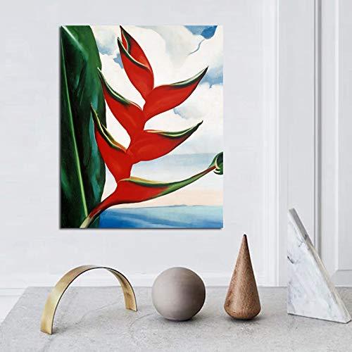 KWzEQ Georgia Fantasie Blattdruck auf Leinwand Wohnzimmer Hauptdekoration Moderne Wandkunst Ölgemälde,Rahmenlose Malerei,50x60cm
