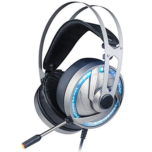 Computer Gaming Headset con Il Mic, 50 mm Il Driver dell'altoparlante 3D Surround Sound in-Line Control Professional Gaming Cuffie compatibili con PC / PS4 / Xbox One/Switch