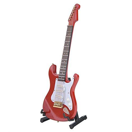 Jadpes Holzgitarrenmodell, Delicate 18 cm Mini Holz E-Gitarrenmodell Ornamente Kollektion mit Stand 4 Farbe Miniatur Puppenhaus Modell Wohnkultur(rot)
