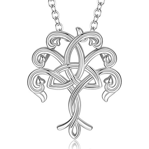 INFUSEU Celtic Tree of Life Love Necklace Sterling Silver Twist Family Tree Irish Trinity Triquetra Triangle Knot Jewelry for Women Girls Ladies Neckless
