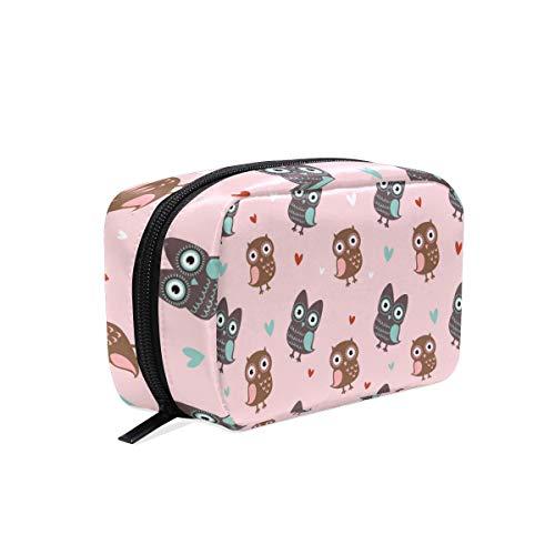 Cosmetic Bag with Zipper Cartoon Bird Cute Owl Clutch Travel Storage Bag Organizer Case for Women Makeup Pouch Bag