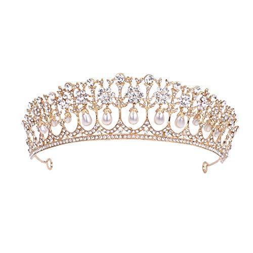 Corona barroca Corona de diamantes de imitación Tiara Aleación Corona de pelo...