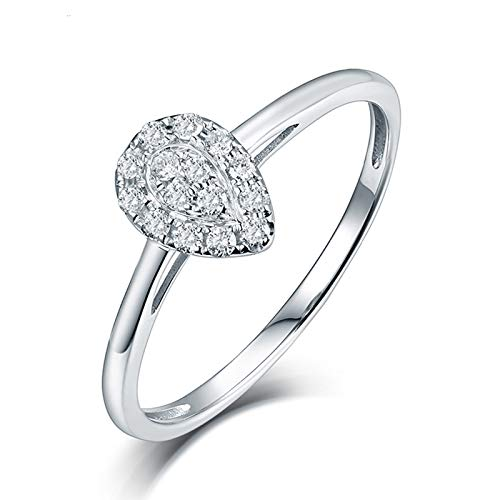 AnazoZ Anillo Oro Mujer Diamante,Anillos Oro Blanco Mujer 18K Plata Gota de Agua con Redondo Diamante 0.15ct Talla 21