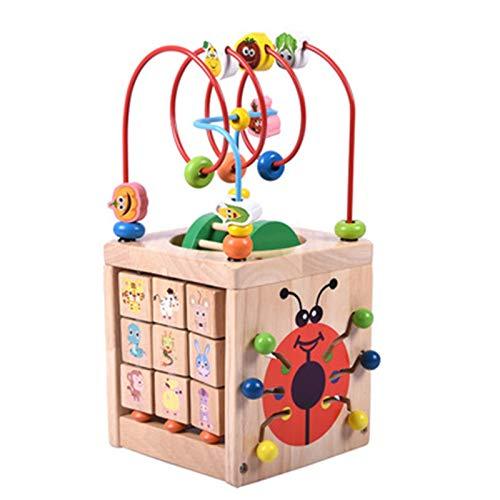 Cubo de Actividad de Madera Actividad Cubo Juguetes de Madera |Centro Educativo para bebés y niños pequeños con Laberinto de Cuentas para Aprender a clasificar y desarrollarse a través del Juego para