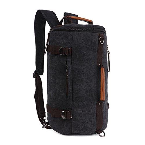 Minetom Lona Backpack Mochilas Escolares Mochila Escolar Bolsa Cilíndrico Unisex Alargado Casual Bolsa Viaje Moda Negro One Size(25 * 25 * 43 Cm)