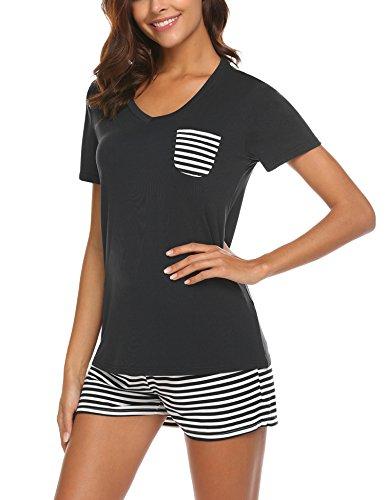 UNibelle Damen Schlafanzug Kurz Baumwolle Sommer Pyjama Nachtwäsche Hausanzug Kurzarm Rund Ausschnitt,A-schwarz,M