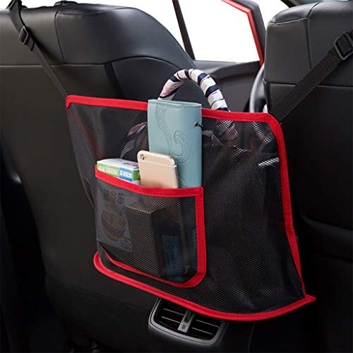 Car Net Pocket Handbag Holder Seat Back Organizer Mesh Large Capacity Bag for Purse Storage Phone Documents Pocket,Barrier of Backseat Pet Kids,Cargo Tissue Holder (Advanced, Red)