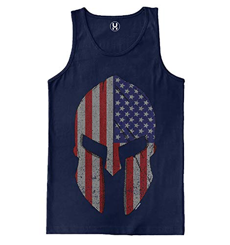 American Flag Spartan Helmet - USA Freedom Men's Tank Top (Navy, XXX-Large)