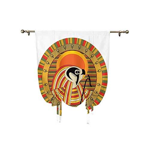 Cortina de ventana con diseño colorido con decoración egipcia, diseño de sol egipcio, ilustración de la cultura animal, con aislamiento térmico, 81 x 117 cm, para decoración del hogar