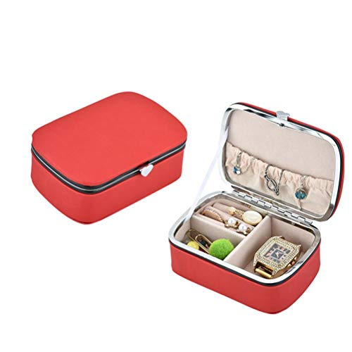 Rawisu Small Jewelry Box Travel Mini Jewelery Box Faux Leather Organizer Storage Case for Rings Earring Necklaces Gift for Girls Mother Women