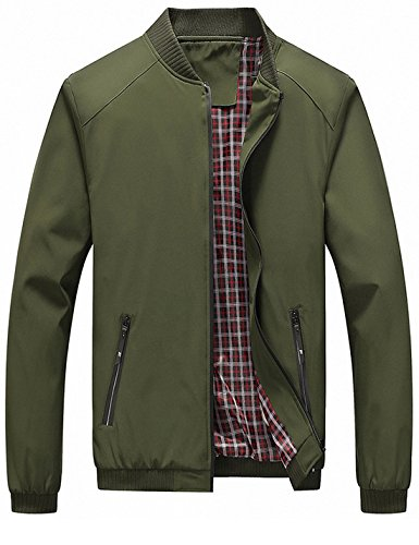 Lentta Men's Casual Slim Lightweight Softshell Zipper Windbreakers Bomber Jacket (Large, Army Green 001)