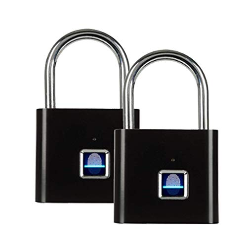 2020最新型指紋ロック 南京錠 指紋認証 複数指紋登録可 USB充電 防水 小型APPや 鍵不要 タッチロック盗難防止2点セット