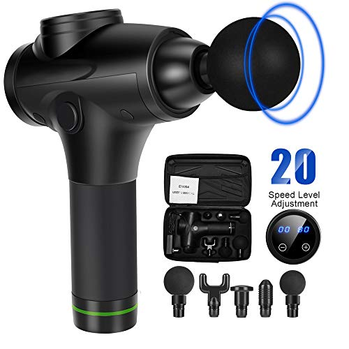 Massage Gun for Athletes Quiet 20 Speed Technology Body Deep Muscle Percussion Massager for Pain Relief 6 Heads with High Intensity Vibration Cordless Rechargeable Handheld