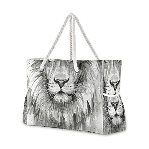Strandtasche, Motiv: Löwe, Mut, motivierendes Zitat, Wasserfarben, Tier, Pool-Tragetasche, Umhängetasche, Kordelgriffe, Reißverschluss, große Kapazität