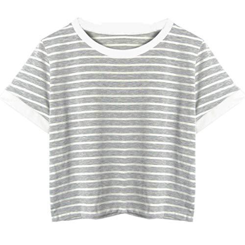 Zarupeng Kaktus Stickerei Streifen T-Shirt, Damenmode Tank Top Kurzarm Rundhals Jumper Bluse Tops Kurz Shirt (S, Grau)