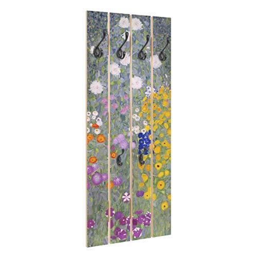 Bilderwelten Perchero de Madera Gustav Klimt   Cottage Garden   Ganchos Negros 100x40 cm