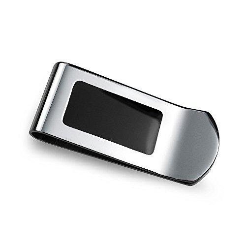 Bling Jewelry Personalisierte Geld Clip Kreditkarteninhaber Zwei Ton Schwarzer Emaille Inlay Edelstahl Custom Graviert