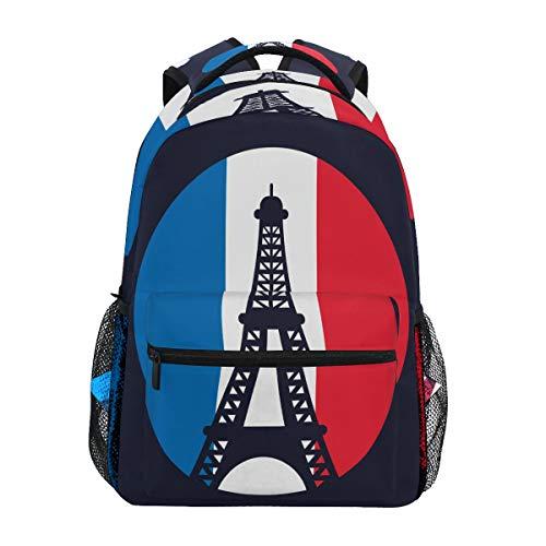 Bandera De La Cultura De Francia Torre Eiffel Mochila de Estudiantes Hombro Mochilas para Viajes Escolar Niños Niñas