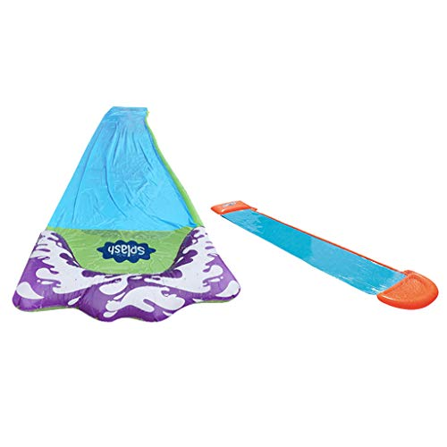 N/A 2Pcs 2 In 1 Lawn Water Slides With Sprinkler And Inflatable Crash Pad