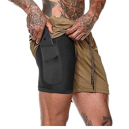 Davicher Pantalón Corto para Hombre Pantalones Cortos Deportivos para Correr 2 en 1 con Forro de Bolsillo Incorporado Fitness Shorts Deportivos para Hombres Pantalones Cortos de Gimnasio