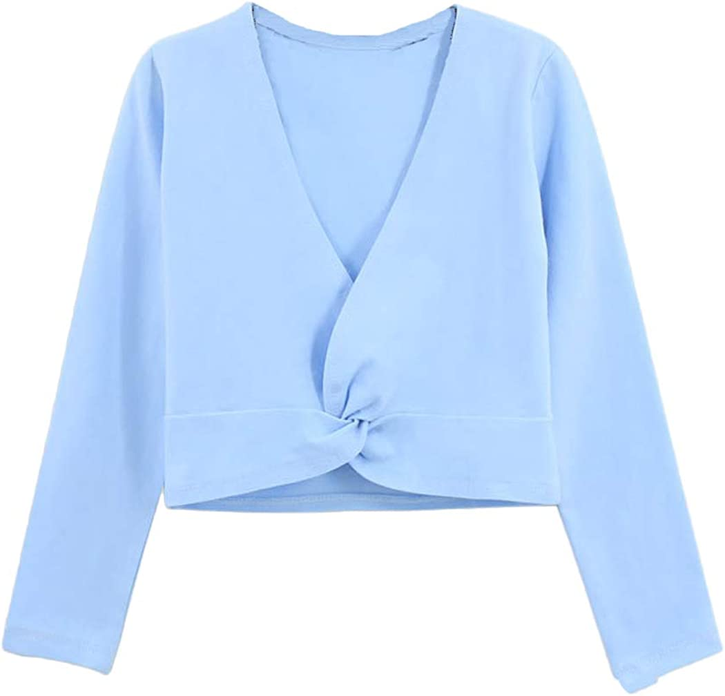 Kids Girls Long Sleeve Cardigan Shrug Front Knot Wrap Top Dance Dress Cover Up