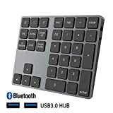 SEENDA Bluetoothテンキー ワイヤレス 2ポートUSB3.0 HUB 付き 34キー 数字キーパッド アルミ合金製 無線 充電式 薄型 1000万回高耐久 人間工学 テンキーパッド Android/Windows/IOS/OS対応 グレー