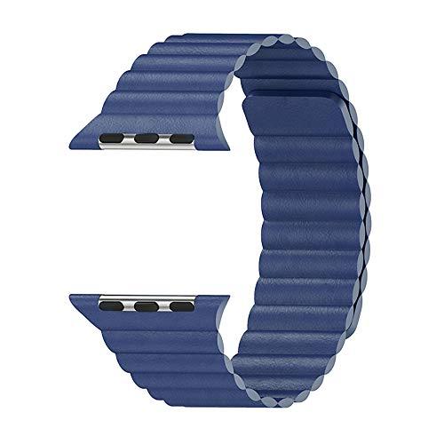 WAY-KE Correa De Cuero Ajustable con Sistema De Cierre Magnético para La Serie Iwatch 5/4/3/2/1 Compatible con Apple Watch Band 44Mm 42Mm 40Mm 38Mm,Azul,44MM