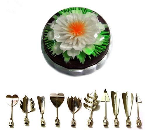 CFtrum 10 stücke 3D Gelatine Gelee Blume Art Tools Edelstahl Düse Spritze Kit Pudding Kuchen Dekorieren Tool