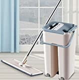 Star Products Flat Mop with Bucket Hands-Free Microfiber Flat Spin Mop System 360° Flexible Head (38X12.5 cm) Mop with 2 Microfiber Pads, Stainless Steel Handle (Grey)