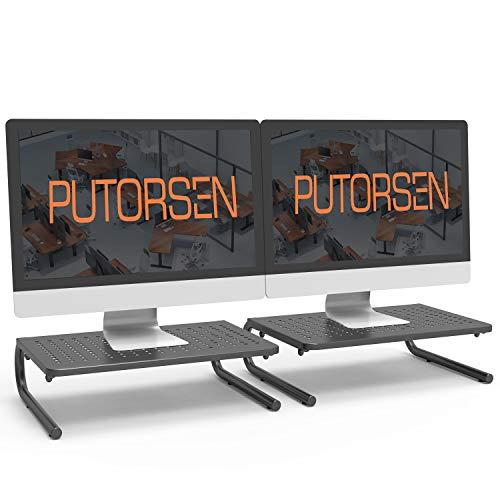 PUTORSEN Soporte de Monitor pc de Premium - Elevador de Monitor 4' de Altura para Laptop, Ordenador, PC, Impresora, Soporte Metálico Ergonómico de Escritorio para Monitor (2 Pack)