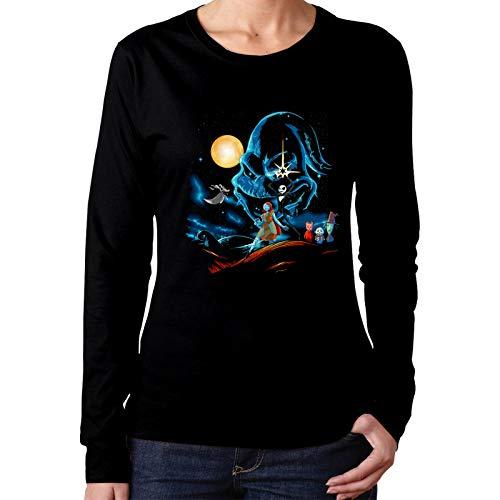 Pesadilla Antes de Navidad.Camiseta de algodón para Mujer Comfort Fashion Camiseta de Cuello Redondo de Manga Larga pequeña Negra
