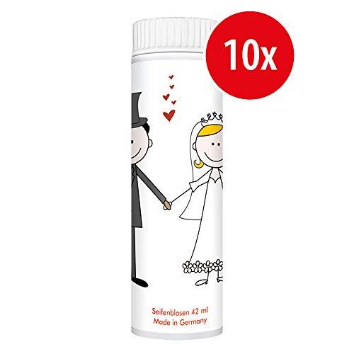 PUSTEFIX Seifenblasen Set I 10 x Kleinpackung Hochzeit Comic I Bunte Hochzeits-Bubbles Made in Germany I Seifenblasen für Hochzeit, Standesamt, Polterabend, Kinder-Geburtstag I 10 x 42 ml Vorteilspack