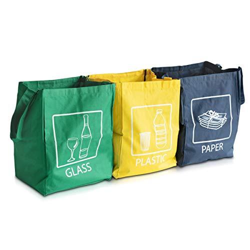 *Navaris 3er Set Recycling Taschen für Mülltrennung – Glas Plastik Papier Stoffbeutel – Mülltrennungssystem sehr stabil – 45x32x32cm pro Tasche*