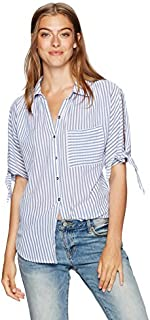 William Rast Women's Willliam Rast-Clapton Woven Top with Ties on Sleeves