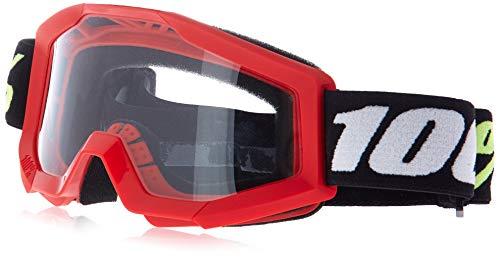 100 Percent STRATA Mini Goggle Red-Clear Lens Gafas de protección, Adultos Unisex, Rojo-Cristal Rojo, Mediano