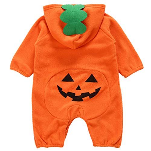 PRETYZOOM Disfraz de Calabaza para Bebé Disfraz de Puente de Halloween Decoración de Fiesta de Halloween para Bebé Recién Nacido (90-73Cm)